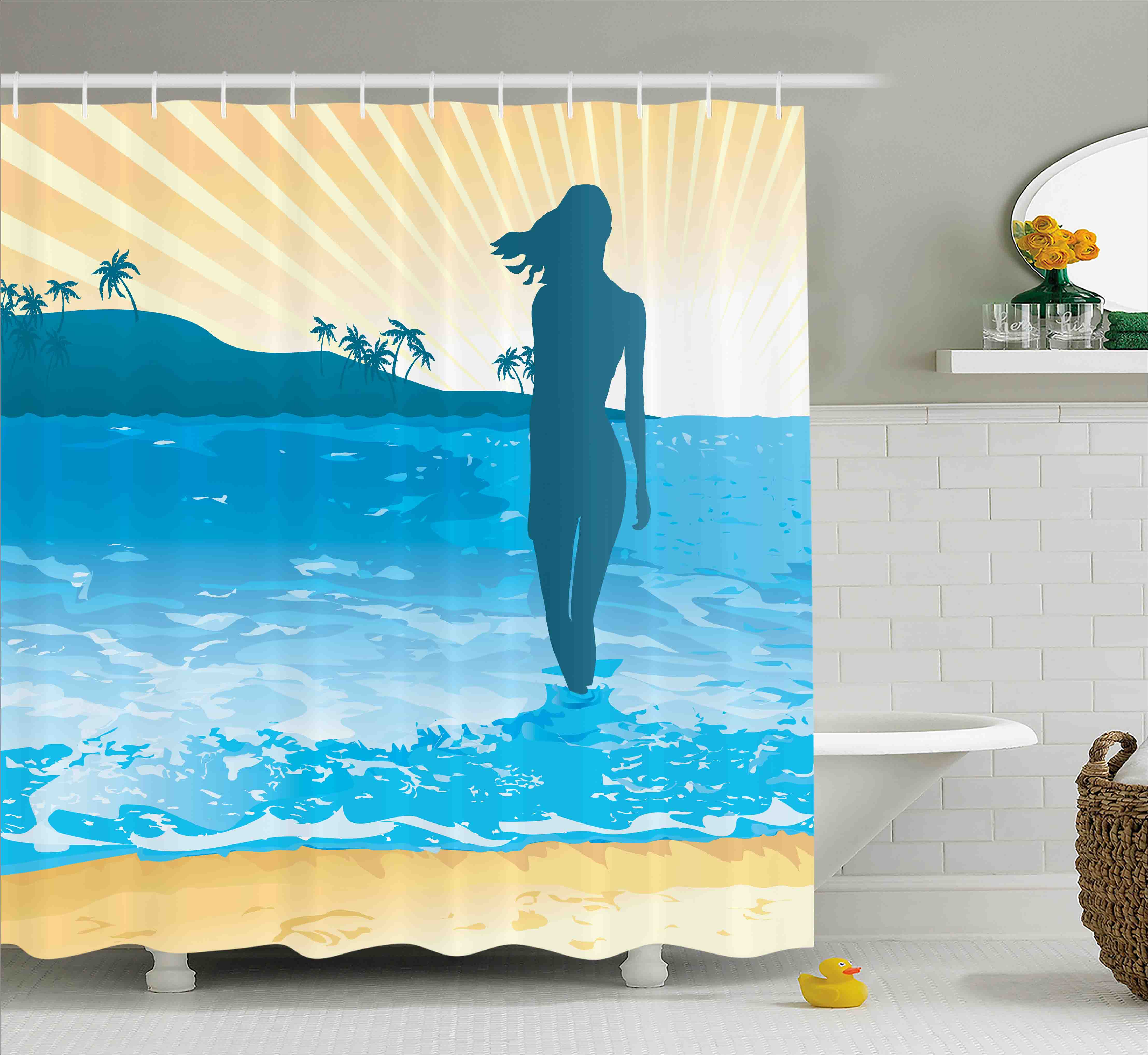 Beach Shower Curtain, Summer Vibes Girl Near the Sea Shore Ocean Palms Waves Sunny Art Print, Fabric Bathroom Set with Hooks, 69W X 75L Inches Long, Sky Blue Cream Slate Blue, by Ambesonne