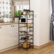 "Kitchen Shelving Organizer, 5 Shelf Metal Shelves for Storage, 165 lb Capacity, Shelving Units for Home Bathroom Living Room, 13""x13""x47.6"", Black"