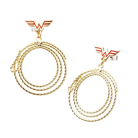 DC Comics Wonder Woman Lasso Gold IP Stainless Steel Dangle Stud (Wonder Woman Stud Earrings)