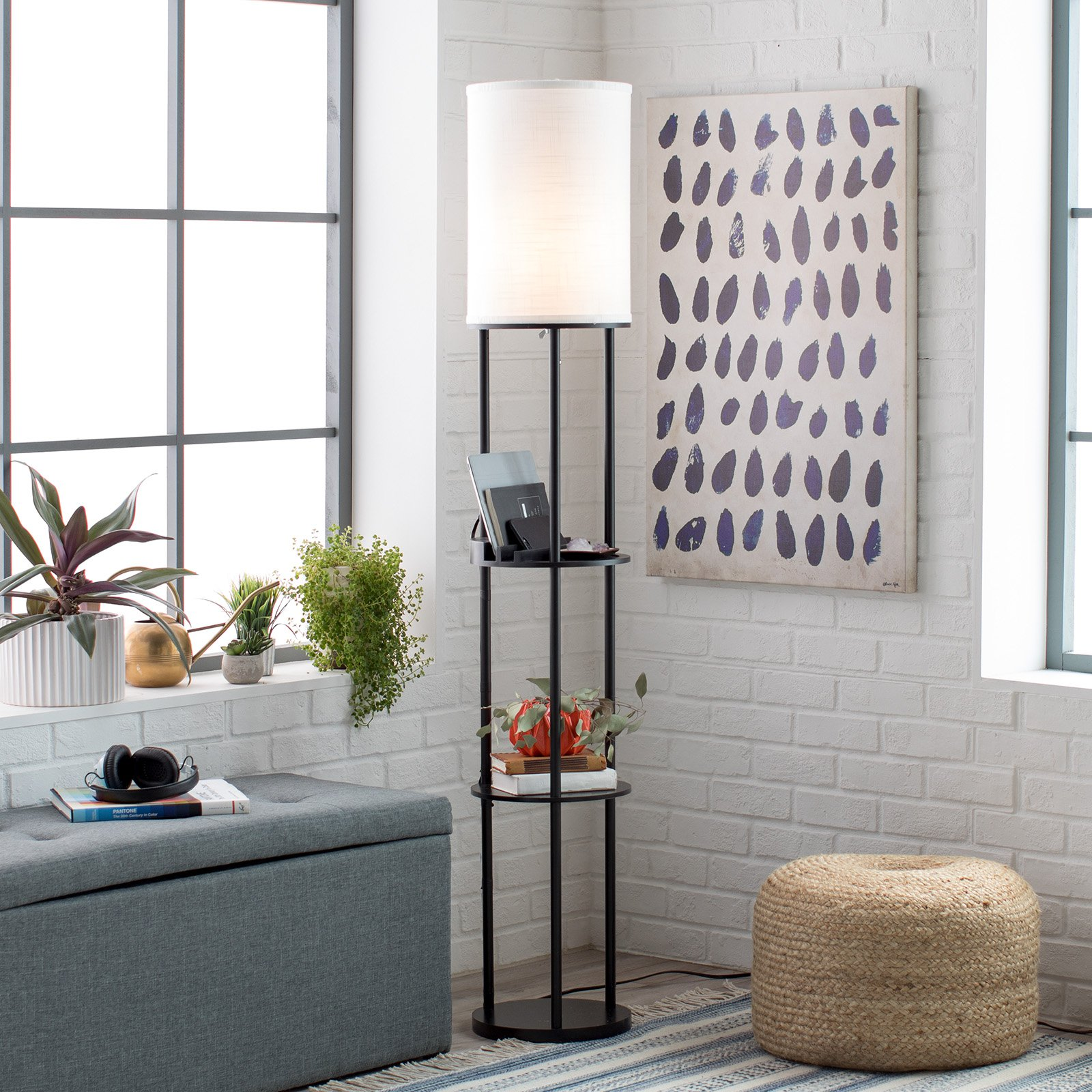 Adesso Charging Station Shelf Floor Lamp