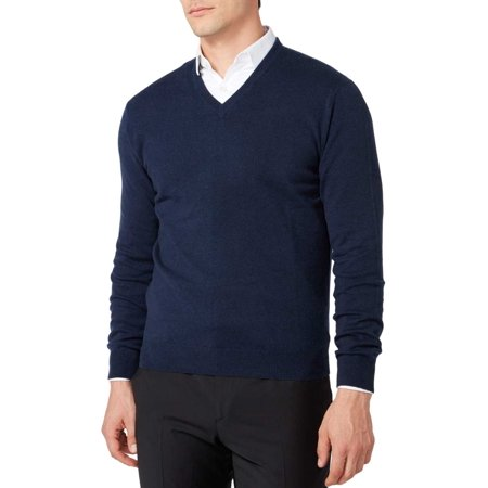 New Mens Cashmere Sweater - Bloomingdale's NEW Blue Mens Size Large L V-Neck Cashmere Sweater