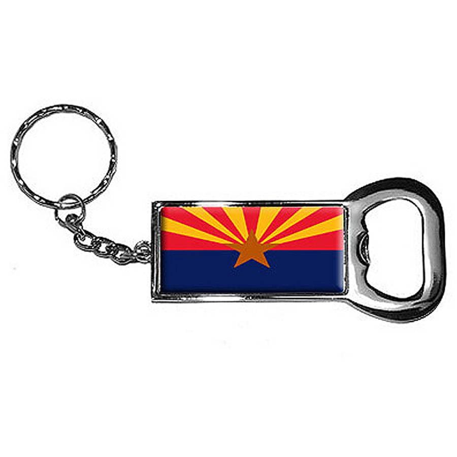 Arizona State Flag Keychain Key Chain Ring Bottle Bottlecap Opener