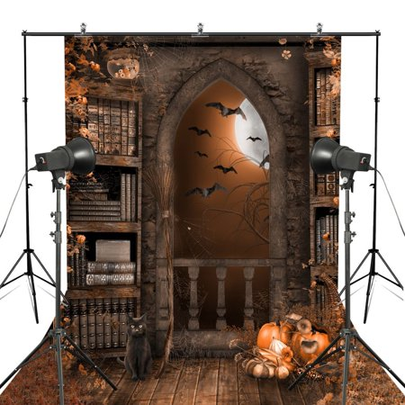 GreenDecor Polyester Fabric 5x7ft Halloween Photography Bcakdrops Antique Arch Castle Door Pumpkin Bat in Dark Night Pumpkin Printed Photo - Nick Castle Halloween