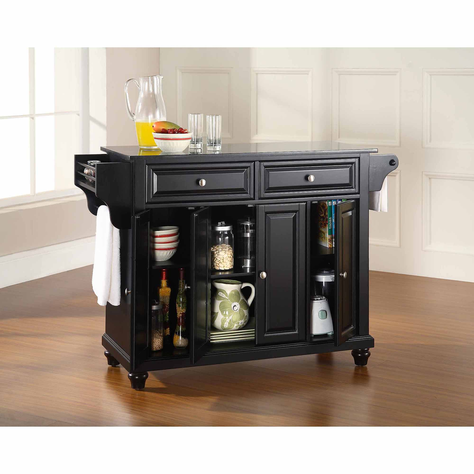 kitchen island black granite top counter crosley furniture cambridge solid black granite top kitchen island