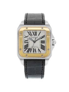 Cartier Santos 100 W20107X7 18K Rose Gold Steel Square Automatic Midsize Watch