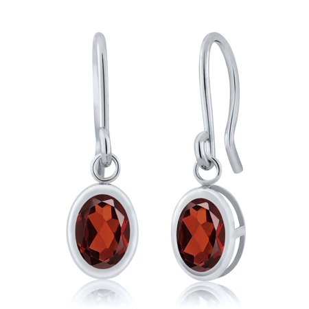 1.80 Ct Oval Red Garnet 925 Sterling Silver French Wire Dangling Earrings