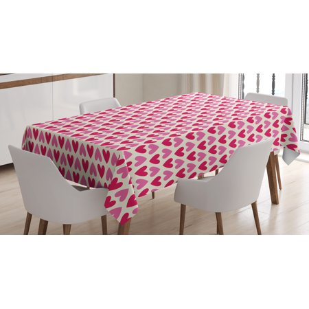 Pink and White Tablecloth, Valentine's Day Concept an Array of Upside Down Pinky Plumpy Hearts, Rectangular Table Cover for Dining Room Kitchen, 60 X 84 Inches, Pink Cream Magenta, by Ambesonne - Valentine Tablecloth