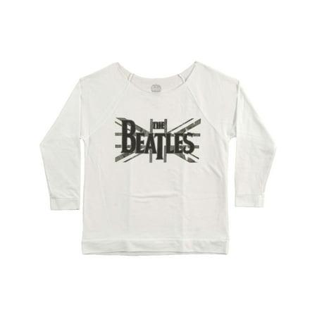 Beatles  B&W Union Jack Girls Jr  Long Sleeve White