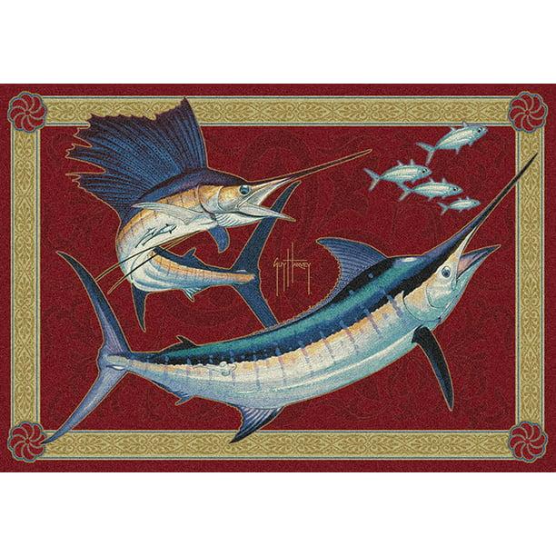 Milliken Red Nautical Fish Spears Area Rug Mini Slam Aprx 7 8 X 10 9 Walmart Com Walmart Com