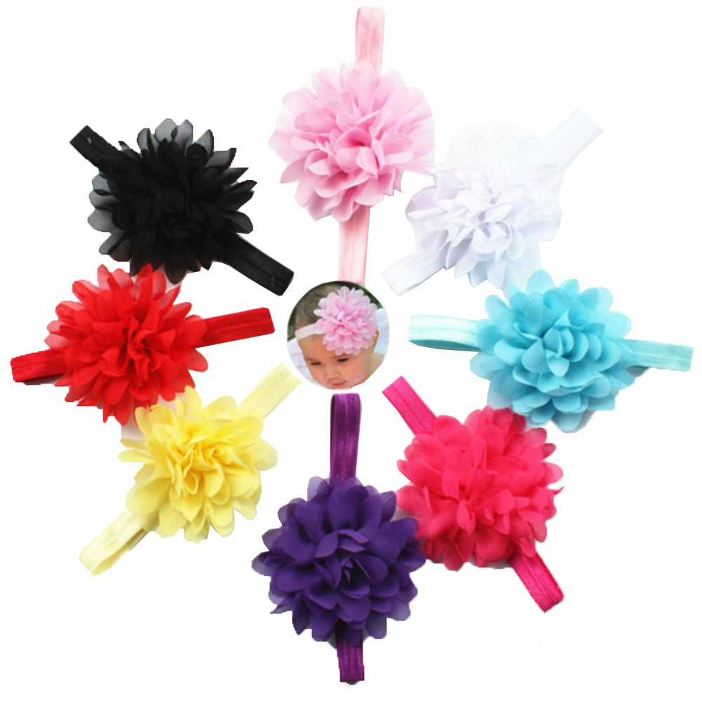 Baby Girls Multi Color Petaled Flower Attached Stretchy 8 Pc Headband Set
