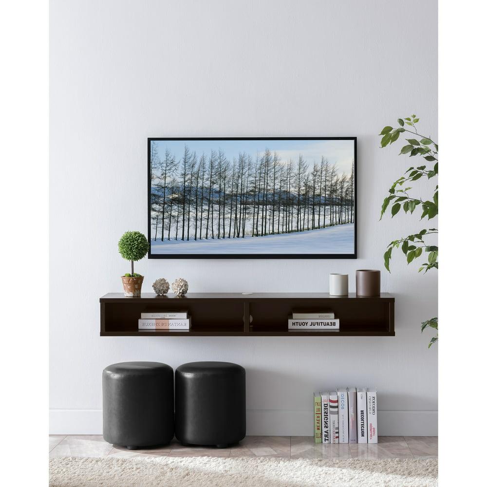 Furniture of America Evaine 2-Shelf Floating TV Stand, Cappuccino