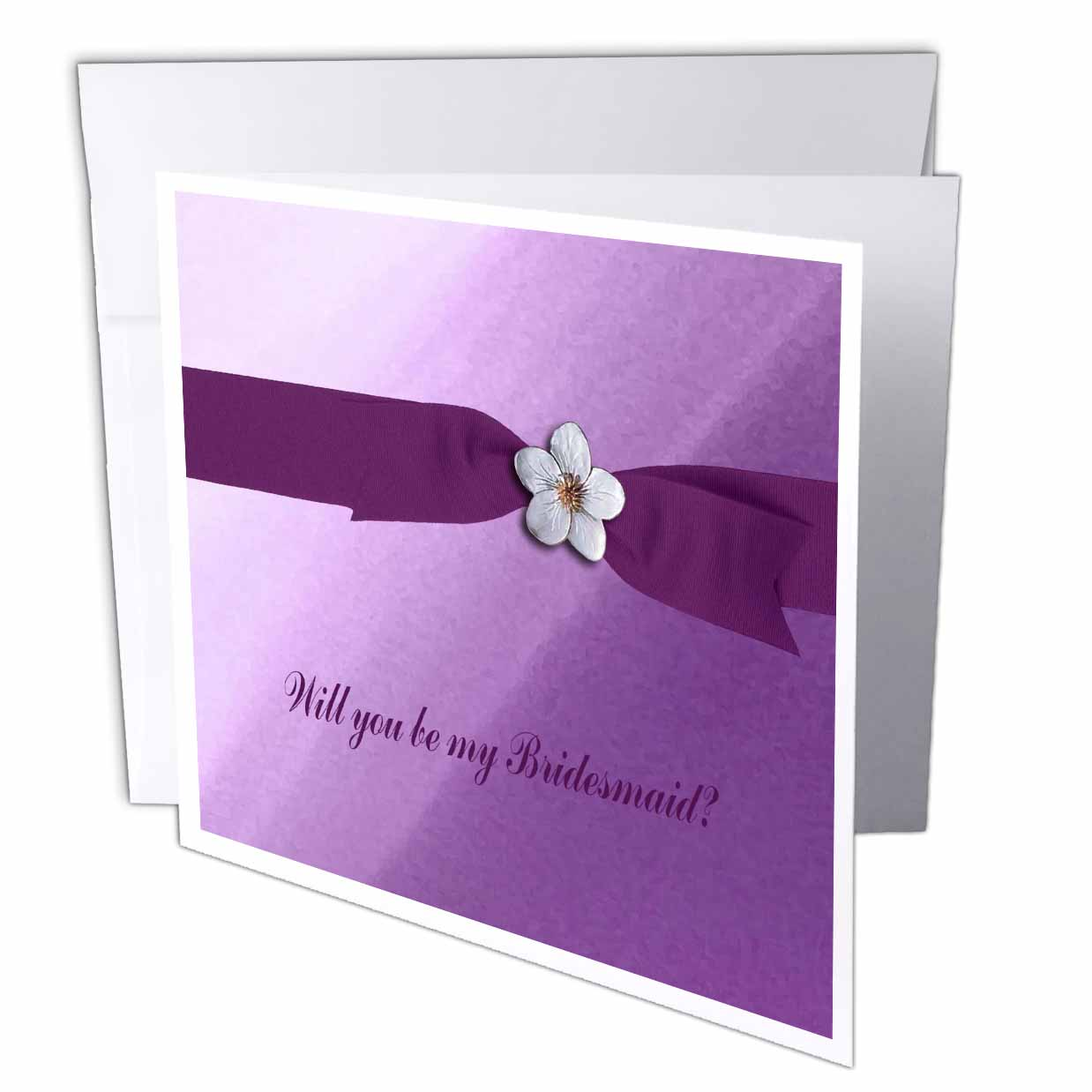 3dRose Flower on Ribbon, Purple, Bridesmaid Request, Greeting Cards, 6 x 6 inches, set of 12