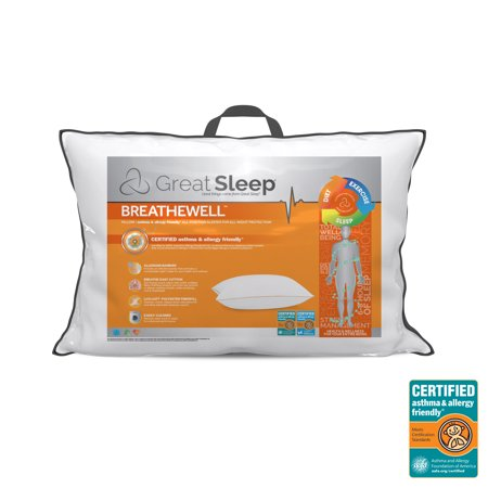 Great Sleep BREATHEWELL CERTIFIED asthma & allergy friendly Pillow Sleep Allergy Free Pillow