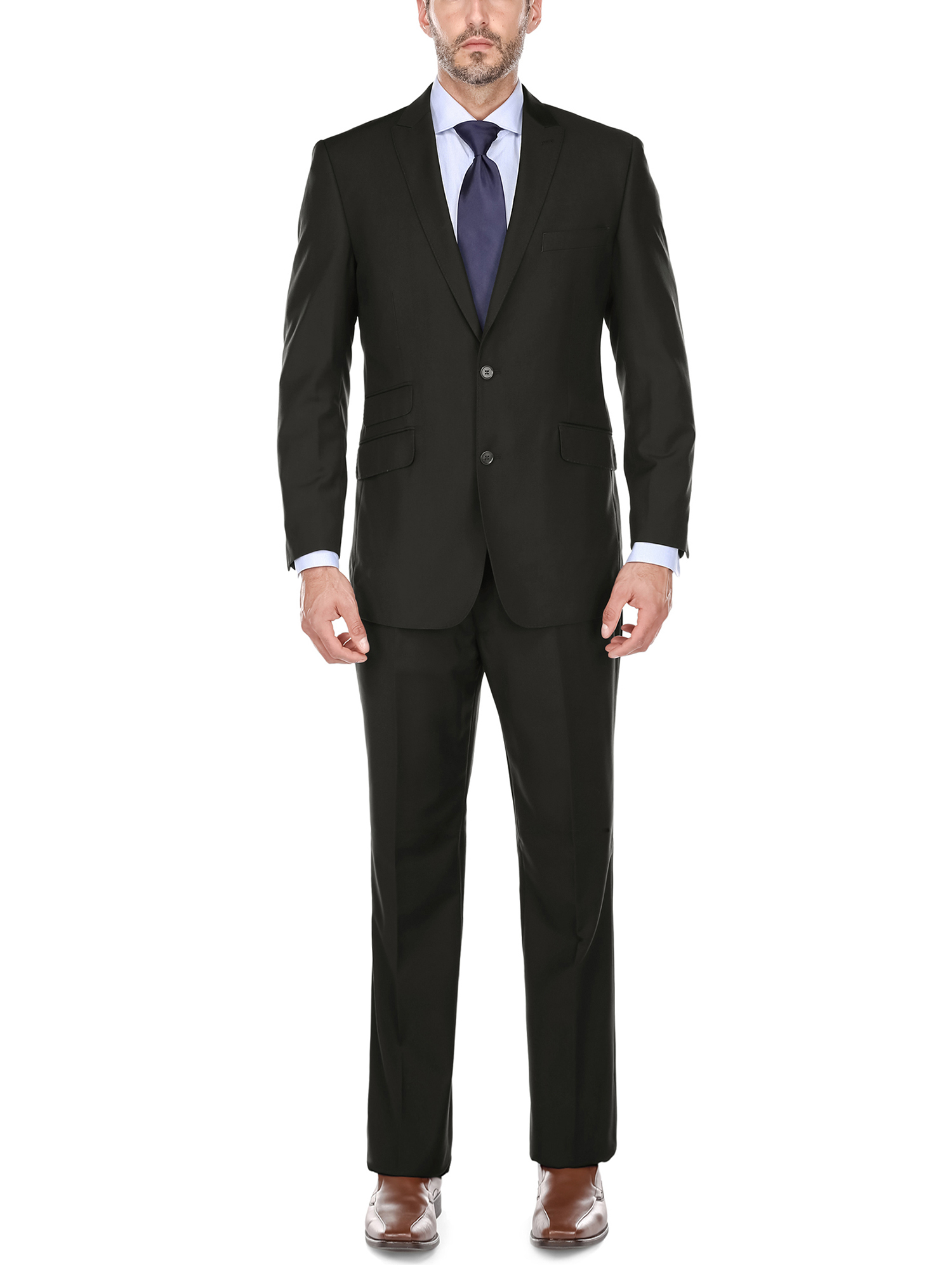 Men' s Black Peak Lapel Classic Fit Two Piece Suit