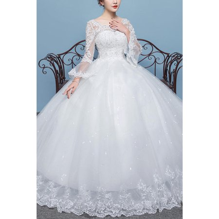 Bell Bottom Dress (Women Bell Sleeve Ball Gown Wedding)