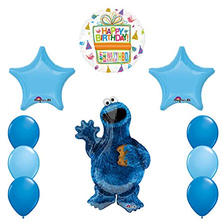 Sesame Street Cookie Monsters Birthday party supplies and Balloon - Cookie Monster Decorations