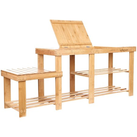 Clevr 2-Tier Shoe Rack Natural Bamboo Storage Bench with Top Drawer ()