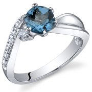 1.00 Ct London Blue Topaz Ring in Rhodium-Plated Sterling Silver