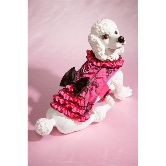 Hollywood Poochie HP803 Lace Overlay Satin Doggie Corset Harness Fully Lined, Red & Black - Extra Small