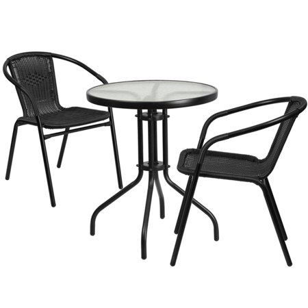 Flash Furniture 23.75'' Round Glass Metal Table with 2 Black Rattan Stack Chairs ()