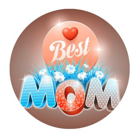 MKHERT Happy Mother's Day To The Best Mom Round Mousepad Mat For Mouse Mice Size 7.87x7.87