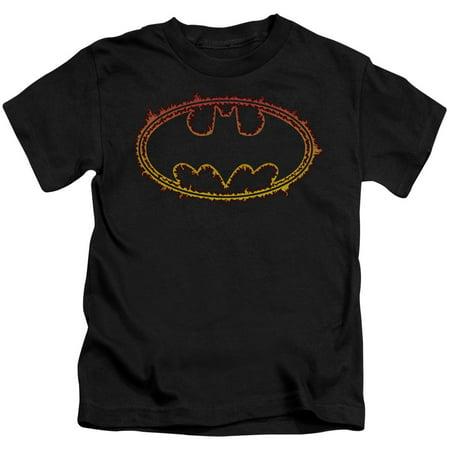 Batman Flame Outlined Logo Juniors V Neck Shirt