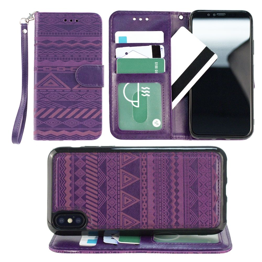 Apple iPhone X Wallet Case, Slim PU Leather Laser Cut Design with Matching Detachable Magnetic Cover Wristlet for Women by Cellular Outfitter [Aztec - Purple]