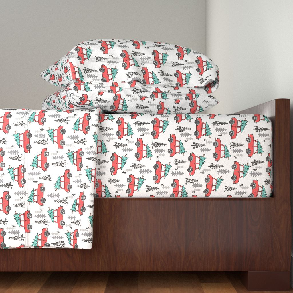 Christmas Car Tree Trees Xmas Holiday 100% Cotton Sateen Sheet Set by Roostery