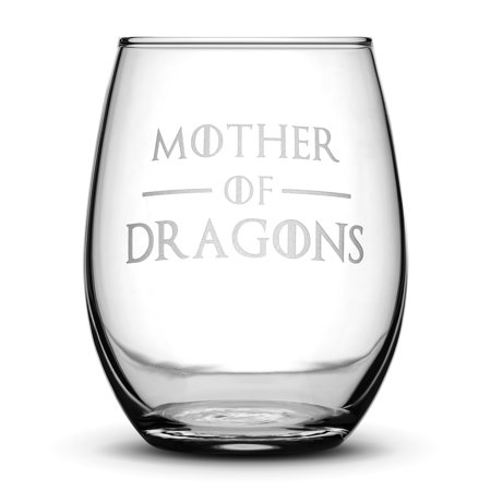 Premium Game of Thrones Wine Glass, Mother of Dragons, Hand Etched 14.2 oz Stemless Gifts, Made in USA, Sand Carved by Integrity (Hand Painted Wine Glasses Mother Of The Bride)