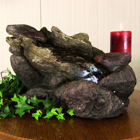 Sunnydaze Log and Stone Tabletop Fountain with LED Lights, 8.5 Inch Tall, Brown