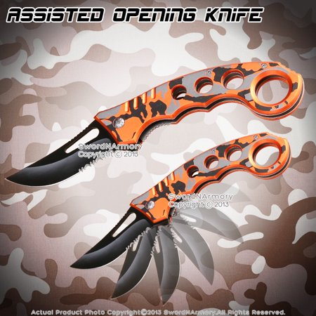 Spring Assisted Opening Pocket Folder Tactical Karambit Knife Two Tone Handle