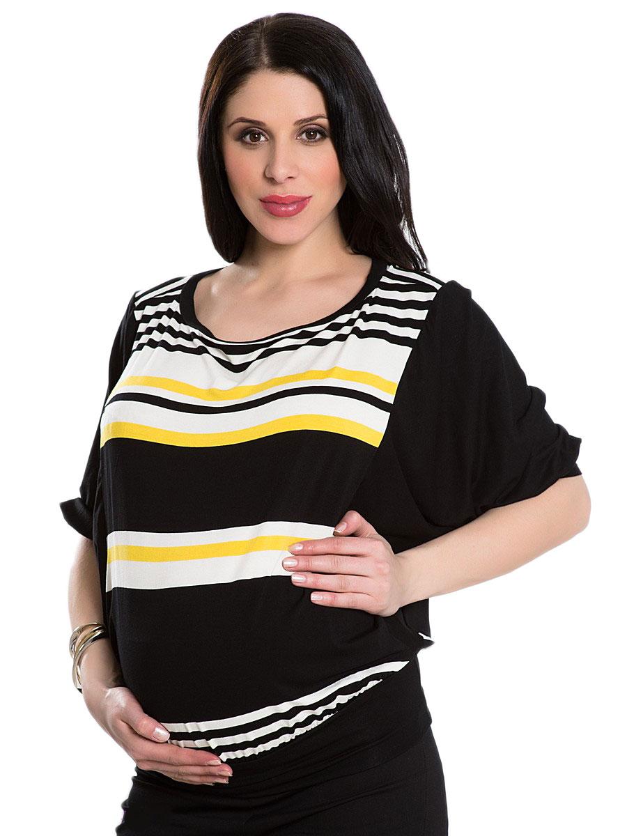 OLIAN Maternity Women's Yellow Stripe Elbow Sleeve Tunic Top XS/S  Black