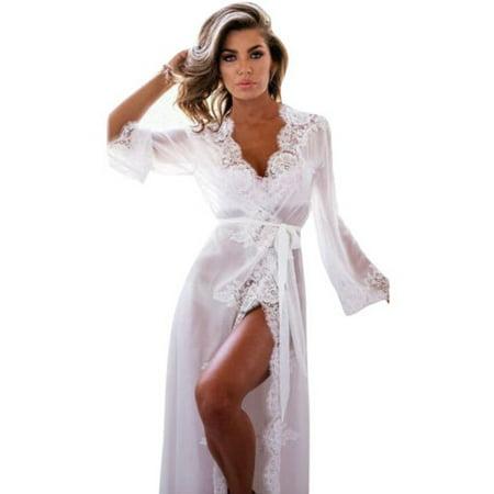cc897149a7e Womens Lace Long Sleeve Sexy Lingerie Nightwear Sleepwear Babydoll Robes  Dress - Walmart.com
