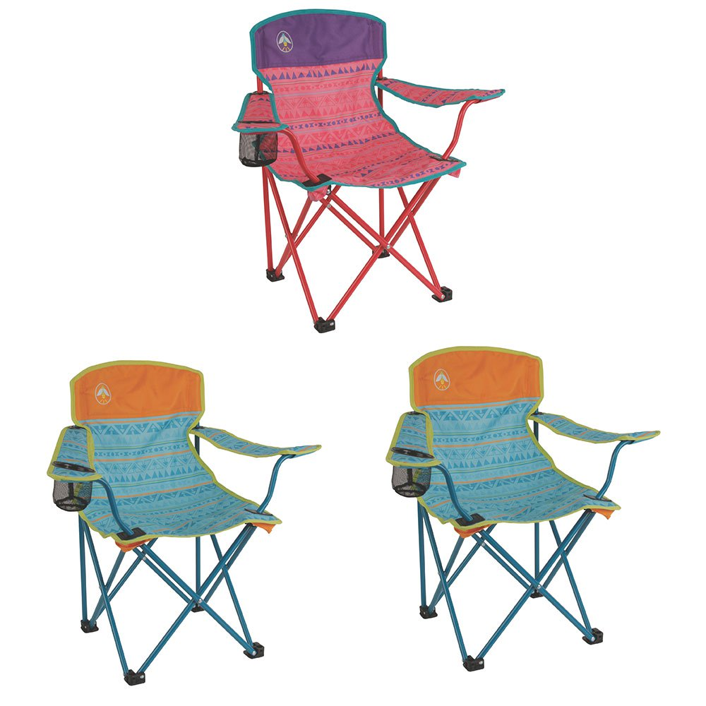 Coleman Kids Camping Quad Chair, Tribal Pink/Purple & Teal/Orange (2 Pack)