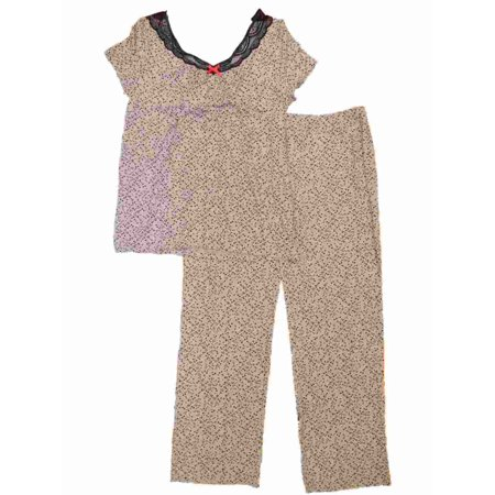 Womens Gray & Black Micro Hearts Pajamas Stretchy Valentines Sleep Set - Valentines Pajamas