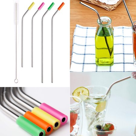 Brushed Stainless Steel Cover - Reusable Drinking Straws Bent Stainless Steel Metal Straws Silicone Cover Brush