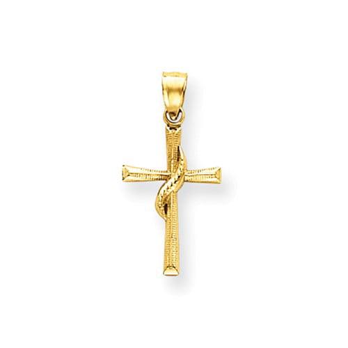 14k Yellow Gold Polished Cross Pendant