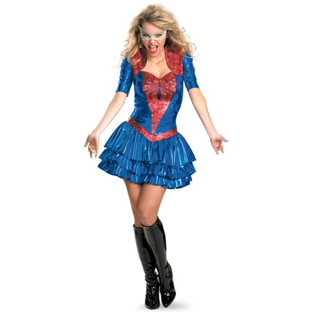 #costumes,Women can be superheroes, too! Now you can in this wonderful Spider-Girl Sassy Deluxe Adult Halloween Costume!