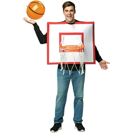 Basketball Hoop with Ball Men's Adult Halloween Costume, One Size, (40-46)