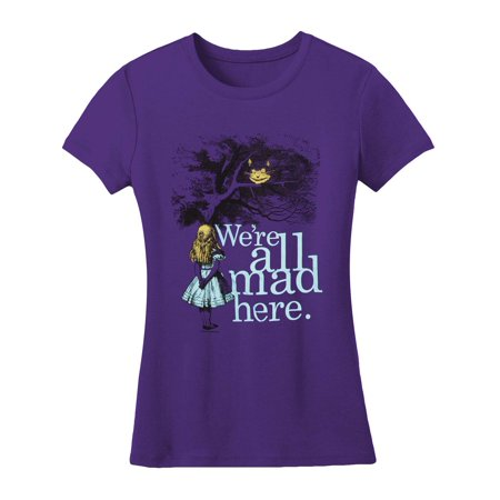 Alice In Wonderland  We're All Mad Here Girls Jr Soft Tee Purple (Deadman Wonderland Shirt)