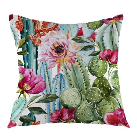 "Tayyakoushi Cactus Flower Rose Throw Pillow Cover Watercolor Pillow Case Square Cushion Cover for Sofa Couch Home Car Bedroom Living Room Decorative 18"" x 18"" Green Pink Red"