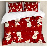Angel Queen Size Duvet Cover Set, Christmas Comic Angels with Hearts Mythological Purity Innocence Cartoon Graphic, Decorative 3 Piece Bedding Set with 2 Pillow Shams, Ivory Ruby, by Ambesonne