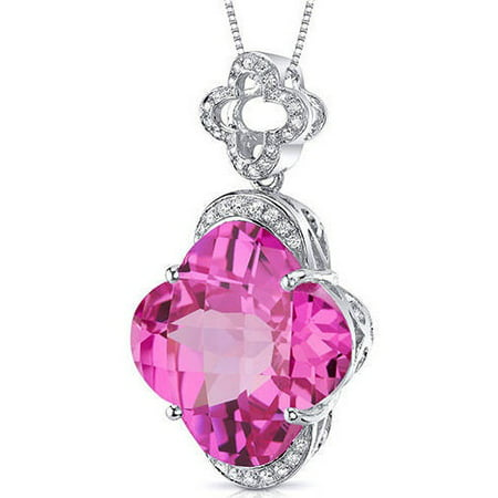 22.00 Carat T.G.W. Lilly-Cut Created Pink Sapphire Rhodium over Sterling Silver Pendant, covid 19 (Brilliant Cut Pink Sapphire Necklace coronavirus)