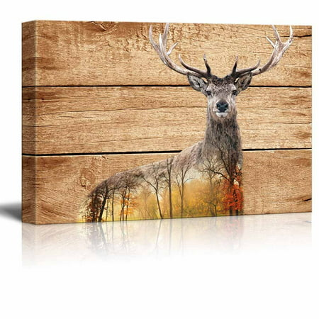 wall26 - Double Exposure Rustic Canvas Wall Art - Elk Deer in The Wild on Vintage Wood Background - Giclee Print Modern Wall Decor | Stretched Gallery Wrap Ready to Hang - 16x24 inches