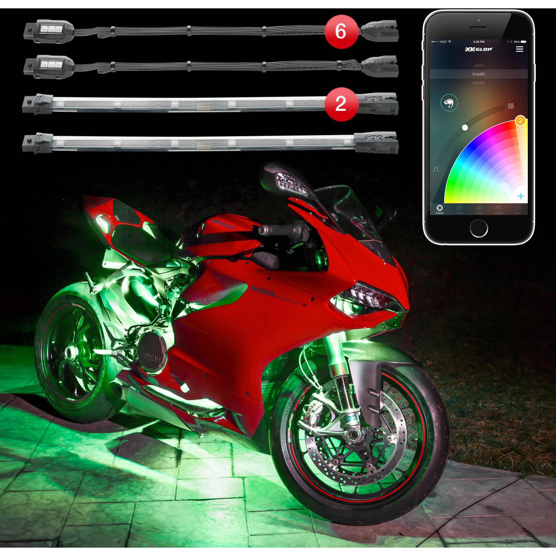 XKchrome App Control 16 Million Color, 6 Pod, 2 Strip Motorcycle LED Accent Mini Kit