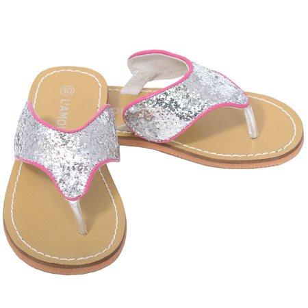 Silver T Strap Flip Flop Summer Spring Sandal Girl 11-4