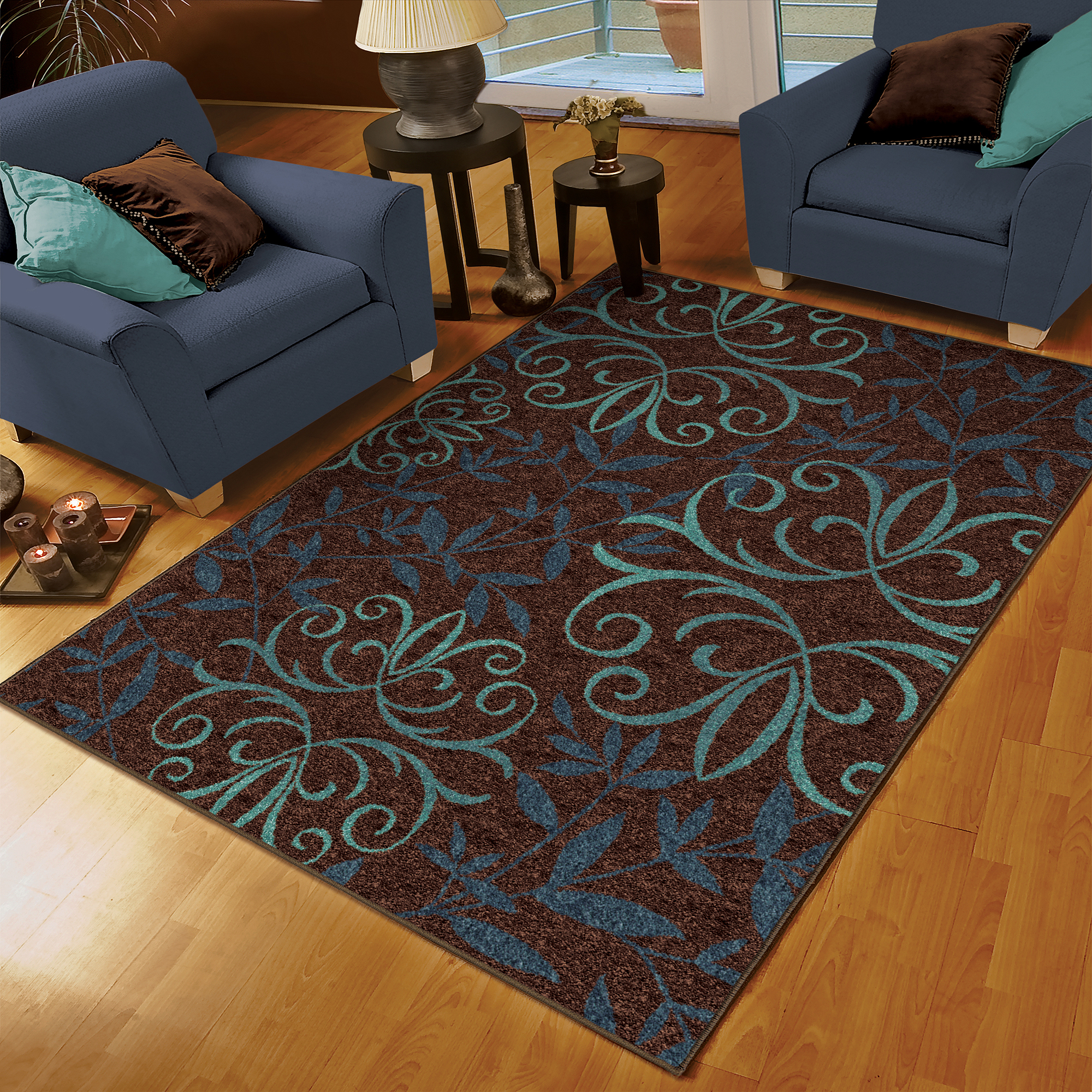"Orian Voyager Area Rug, Blue, 5'3"" x 7'6"" by Orian Rugs Inc"