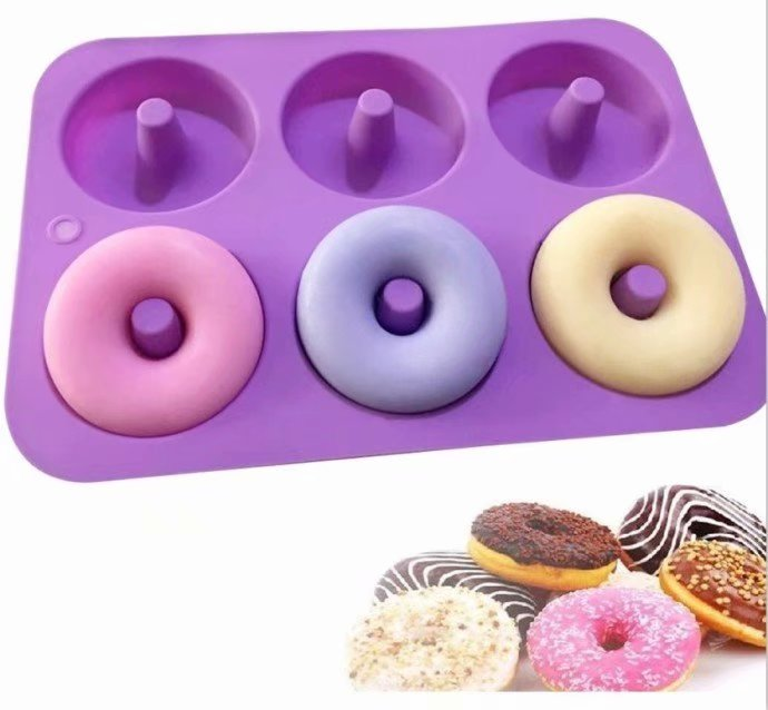 2-Pack Donut Baking Pan, Silicone, Non-Stick Mold, Bake Full Size Perfect Shaped Doughnuts
