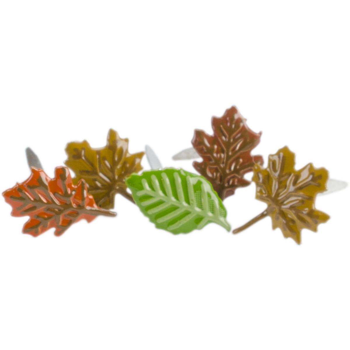 Eyelet Outlet Shape Brads 12//Pkg-Leaves