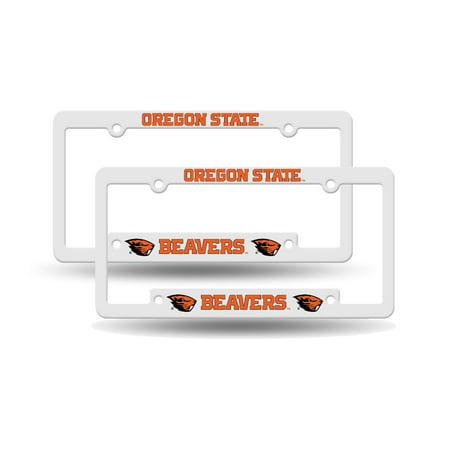 Ncaa Plastic License Plate Frame - Oregon State Beavers NCAA Raised Letter White Plastic License Plate Frame Set